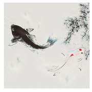 3PCS Unframed Koi Fish Canvas Oil Painting Home Decor