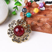 Vintage Charm Flower Grape Long Charm Necklace Beaded Necklace Sweater Necklaces for Women