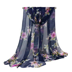 Women Soft Chiffon Oversize Print Shawl Outdoor Vacation Sunshade Breathable Scarves