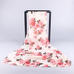 Damen Oversize-Chiffon-Rose Print-Schal im Freien Sonnencreme winddicht Strandtuch lässig Schals