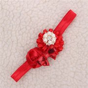 Kids Girl Baby Toddler Luxury Bow Pearl Rose Flower Headband Hair Band Headwear