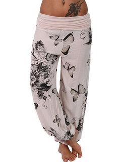 Mariposa Estampado Ancho Pierna Mujeres sueltas pantalones casuales