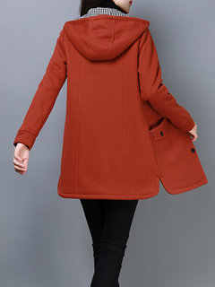 Casual Solid Color Hooded Coat