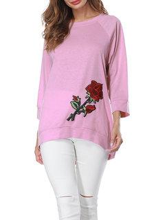 Occasionnels Loose Rose brodé irrégulière O-cou Blouses pour les femmes