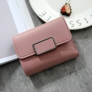 Women Stylish PU Leather Multi-slots Short  Wallet Card  Holder Purse
