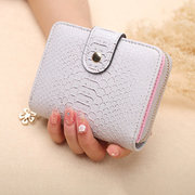 Women Bifold 7 Card Slot Short Wallet Solid Casual Coin Purse
