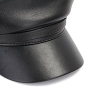 Men Women Genuine Leather Beret Cap Casual Outdoors Flat Army Hat