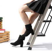 Large Size Black Block Boots For Women