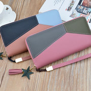 Damen Nähte Farbe Multi-Slots Lange Brieftaschen Kartenhalter 5,5 Zoll Handytasche