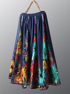 Vintage Floral Print Patchwork Skirt For Women