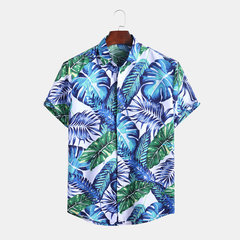 Hawaiian Tropical Plant Printed Holiday Beachwear für Herren - Kurzarmhemd
