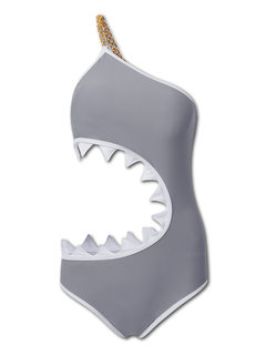 Mulheres Sexy Shark Mouth One Piece Swimsuit One Shoulder Hollow Out Swimwear