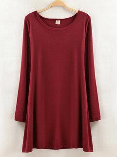 Vestidos gruesos de cuello redondo color sólido