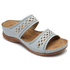 LOSTISY Handmade Stitching Comfortable Open Toe Casual Wedges Sandals