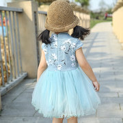 Girls Floral Mesh Dress Patchwork Chinese Style Mesh Tutu Skirt Flower Dresses