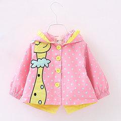 Мультфильм Жираф Окрашенные Дети Baby Girl с капюшоном Куртка Outwear для 0-24M