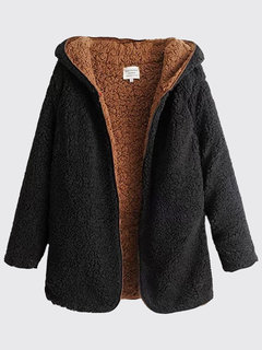 Double-faced Faux Cashmere Long Sleeve Hooded Winter Coat