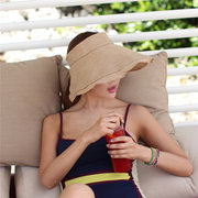 Women Ladies Foldable Solid Empty Top Beach Straw Hat Causal Wide Brim Sunscreen Sunshade Cap