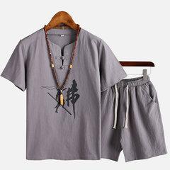 Mens modèle national de style chinois imprimé deux pièces costume d'été en lin Casual