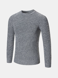 Mens Casual Wool Solid Color Warm Round Neck Long Sleeve Knitted Sweater