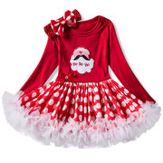 Santa Pattern Baby Girls Long Sleeve Christmas Dress For 0M-24M