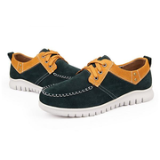 Men Suede Breathable White Sole Flat Sport Lace Up Casual Shoes