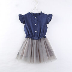 Denim Mesh Toddlers Girls Enfants Robes Princesse Patchwork Sans Manches