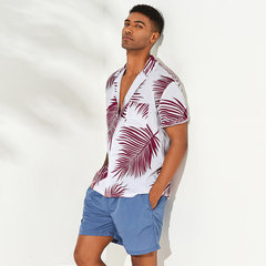 Mens Hawaiian Holiday Floral bedruckte Baumwolle Umlegekragen Kurzarm Lose Shirts