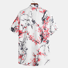 Mens Chinese Style Painting Floral Printed Turn Down Collar Short Sleeve Casual Shirts