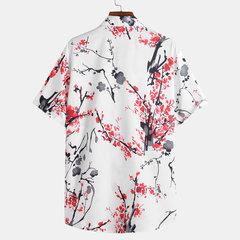 Mens chinesischen Stil Malerei Floral bedruckte Umlegekragen Kurzarm Casual Shirts