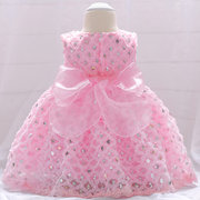 Sequined Bowknot Patch Girls Party Pageant Dress For 0-18M