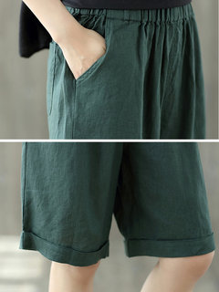 Elastic Waist Solid Color Pockets Vintage Wide Leg Shorts