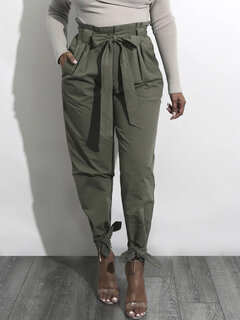 Strap High Waist Solid Color Casual Pants