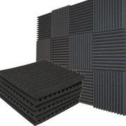 12Pack عازلة للصوت الصوتية ستوديو إسفين رغوة بلاط الجدران لوحات الإسفنج نظيفة مساعد الرئيسية