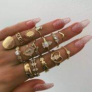 vendimia Juego de anillos de monedas tridimensionales de oro con forma de anillo Corazón Juego de anillos de diamantes de imitación geométricos