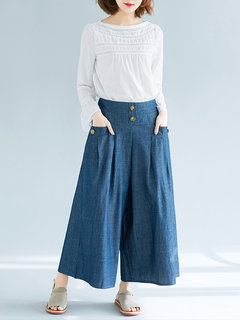 High Waist Button Wide Leg Solid Color Casual Denims