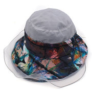 Damen Faltbarer einstellbarer Druck Vogue Wild Sun Hut Sommer Outdoor Travel Strand Meer Bucket Cap