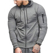 Mens Zip Up Slim Hoodies Solid Color Long-sleeve Zipper Casual Cotton Hooded Tops