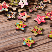 100pcs/lot Lovely Polychromatic Pentagram Shape Cute Wooden Buttons Painted Colorful Wooden Buttons