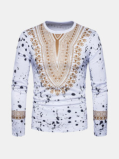 Mens African Ethnic Style 3D gedruckt Langarm Casual T-Shirts