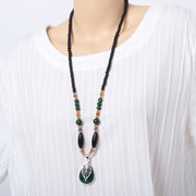 Ethnic Womens Long Necklaces Vintage Handmade Drop Leaf Elephant Pendant Beaded Necklaces