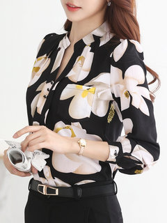 Froral Printed Long Sleeve Office Lady Chiffon Shirt