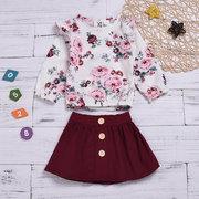 Flower Print Girls Long Sleeve Tops + Skirt Sets For 1-7Years
