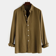 Men's Casual Solid Color Cotton Linen Long Sleeve Shirts