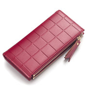 Check Pattern Pure Color PU Leather Long Wallet Card Holder For Women