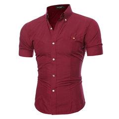 Summer Chest Pocket Solid Color Slim Fit Short Sleeve Shirts For Men