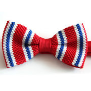Men Casual Knitted Stripes Bowknot British Style Wedding Fabrics Bow Tie