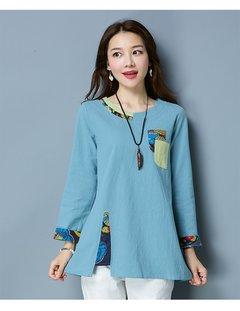 Round Neck Ethnic Style Patchwork Loose Hem Shirts For Women