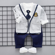 3Pcs Little Gentleman Baby Boys Cotton Outfits Clothes Sets For 6-36M