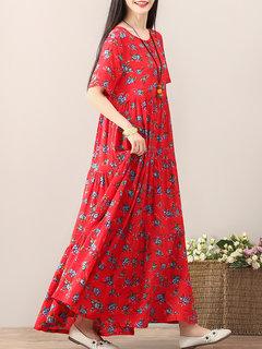 Цветочные империи талии половину рукава Maxi платья